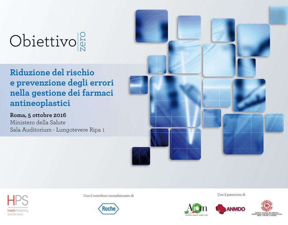 locandina di obiettivo zero per la riduzione rischio dei farmaci antineoplastici